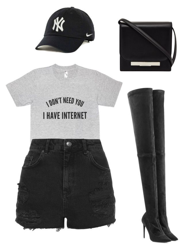 """""""#greyxblack"""" by styledbymc ❤ liked on Polyvore featuring Tamara Mellon, Topshop, The Row and NIKE"""