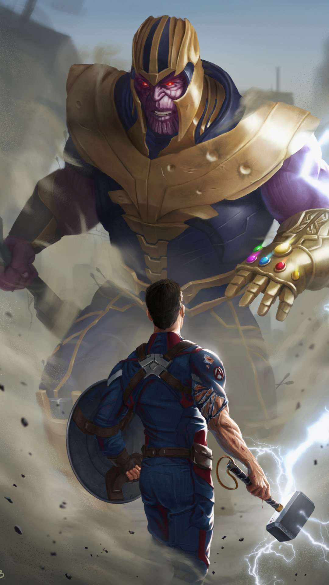 Captain America With Thor Hammer Fighting Thanos Iphone Wallpaper Captain America Pop Art Comic Marvel Marvel