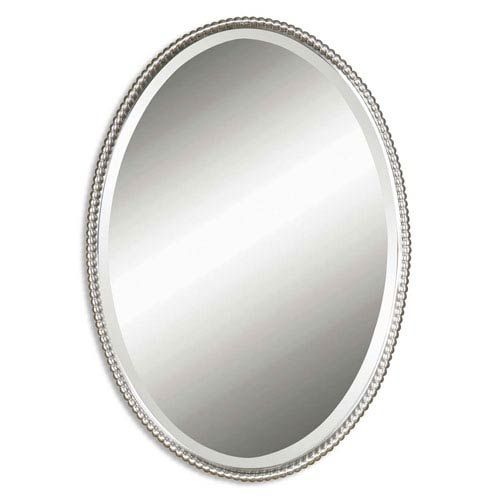 Sherise Brushed Nickel Oval Mirror Uttermost Wall Mirrors Home Decor