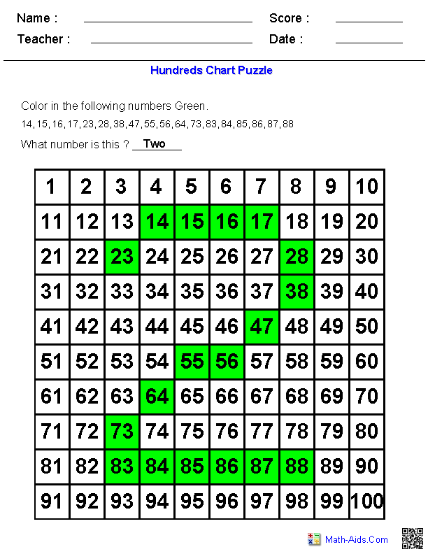 Number Puzzles On A Hundreds Chart  MathAidsCom
