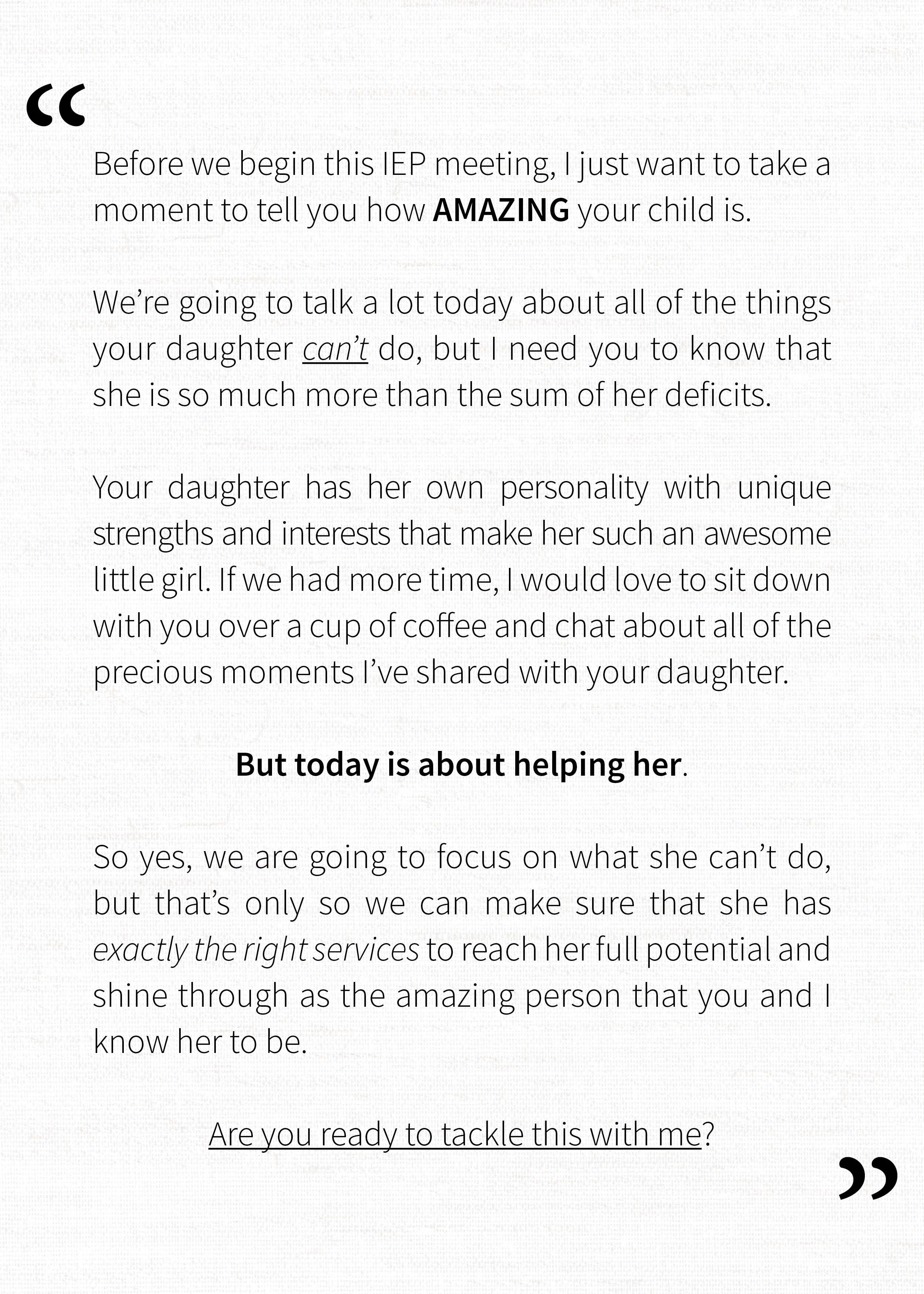 Letter To Parent Of A Girl With Special Needs