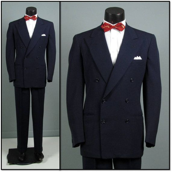 Vintage Mens Suit 1940s 1950s PENNEYS TOWN Clad Classic Navy Double Breasted Gabardine Two Piece 44 Chest Long Tall