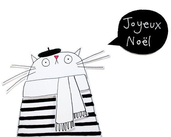 Carte de Noël de chat chat Français avec blanc écharpe par poosac