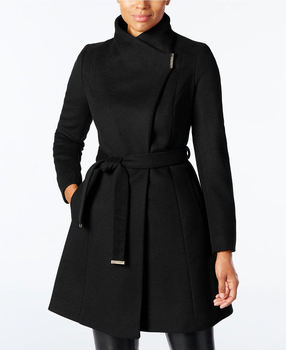 Michael Michael Kors Wool Blend Belted Walker Coat Coats Women Macy S Coats For Women Womens Dress Coats Fashion [ 1467 x 1200 Pixel ]
