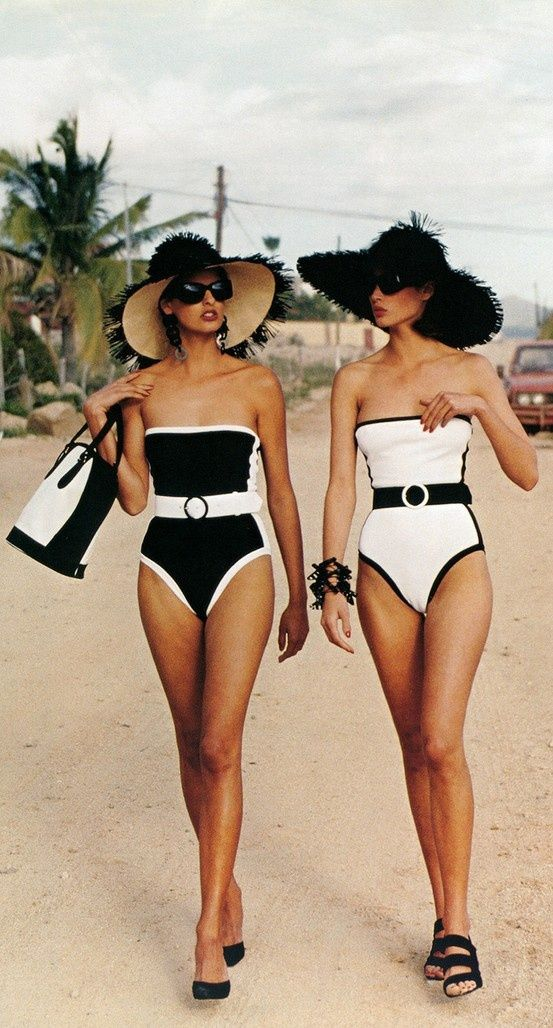 5c5a1d94d8af7 Black and white retro swimwear. Vogue Daily — Linda Evangelista and Christy  Turlington