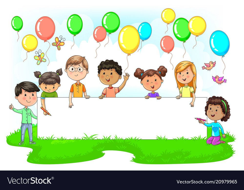 Cute Kids Holding Empty Festive Banner Colored Vector Image On Vectorstock Cartoon Kids Kids Picture Frames Kids Clipart