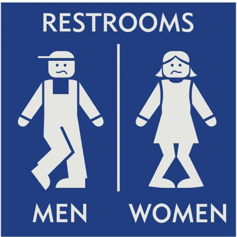 Merveilleux Blue Restroom Sign With Engraved European Style Figures Of Boy And