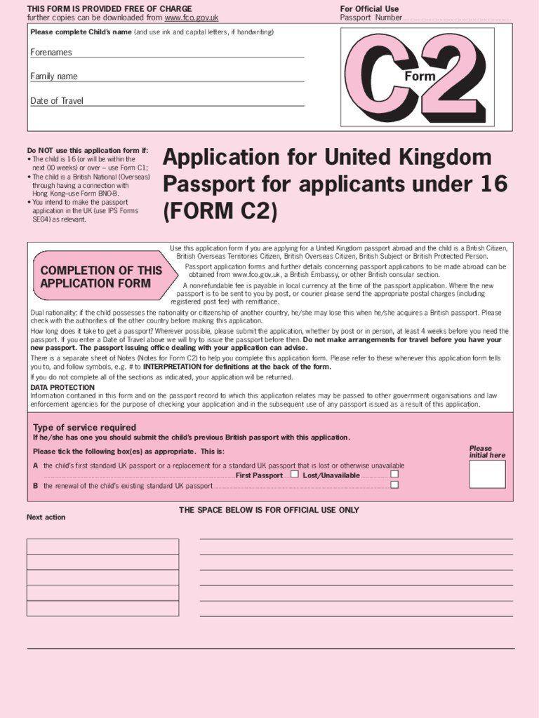 Fillable Passport Renewal form Child Passport Application