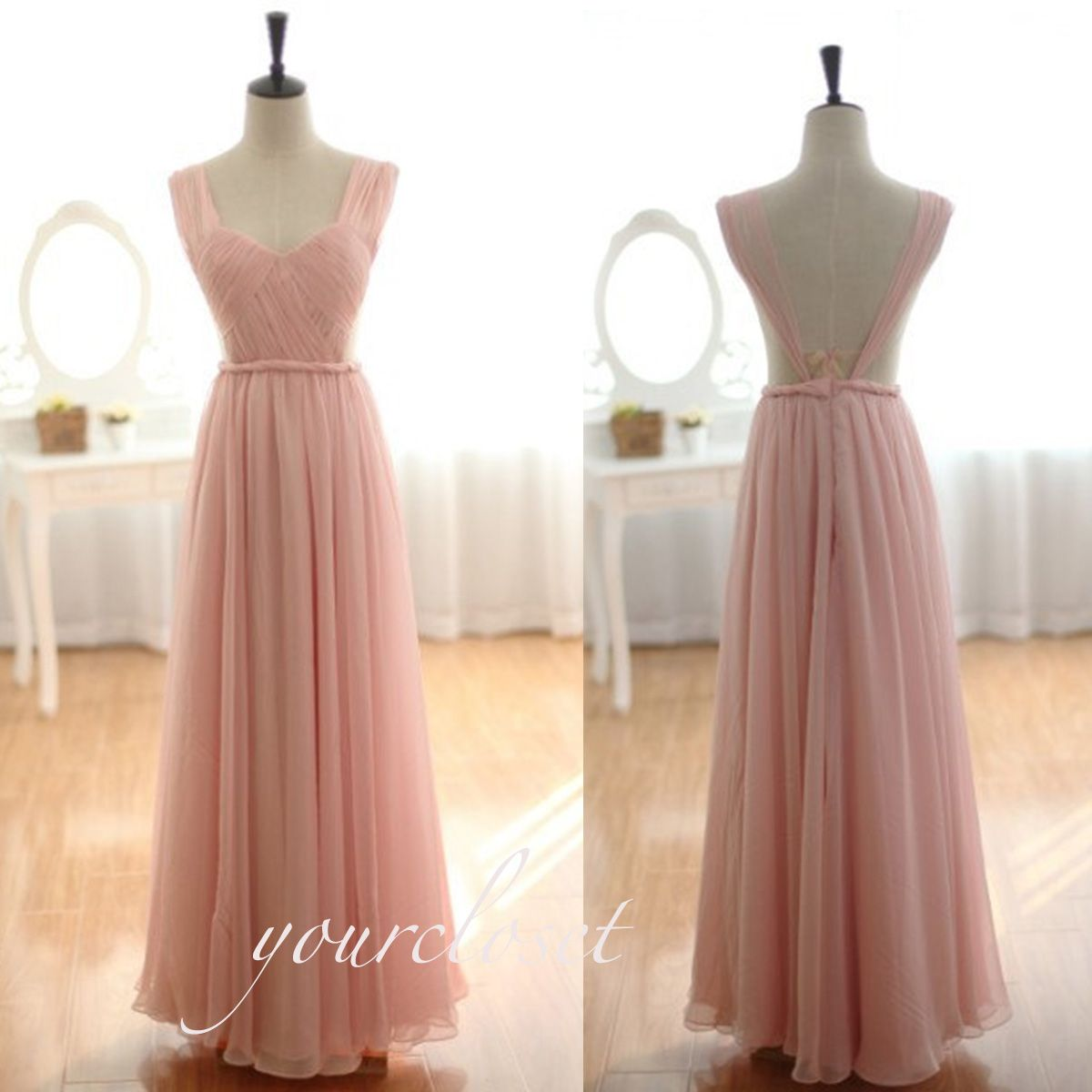 Girlfriend prom dress elegant pink chiffon floorlength halter