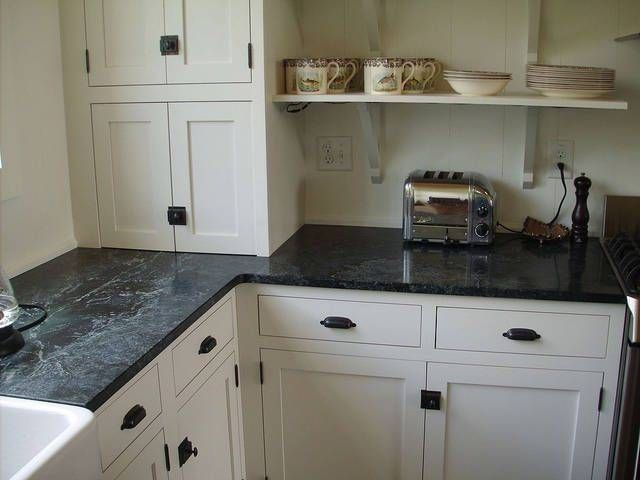 Dark Formica With White Cabinets