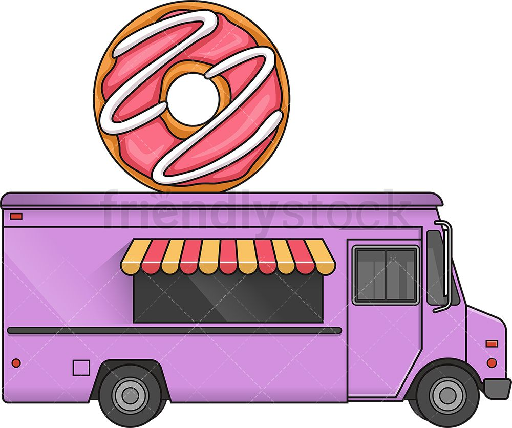 Donut Food Truck Side View In 2020 With Images Food Truck