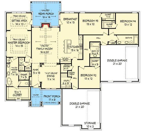 Plan 68410VR: 4 BedCraftsman House Plan with Open Floor Plan in 2018 on 1st floor master bedroom, open floor plan house plans, main floor master house plans, master bedroom plans, 2nd floor master house plans, master bath house plans, simple small house floor plans,