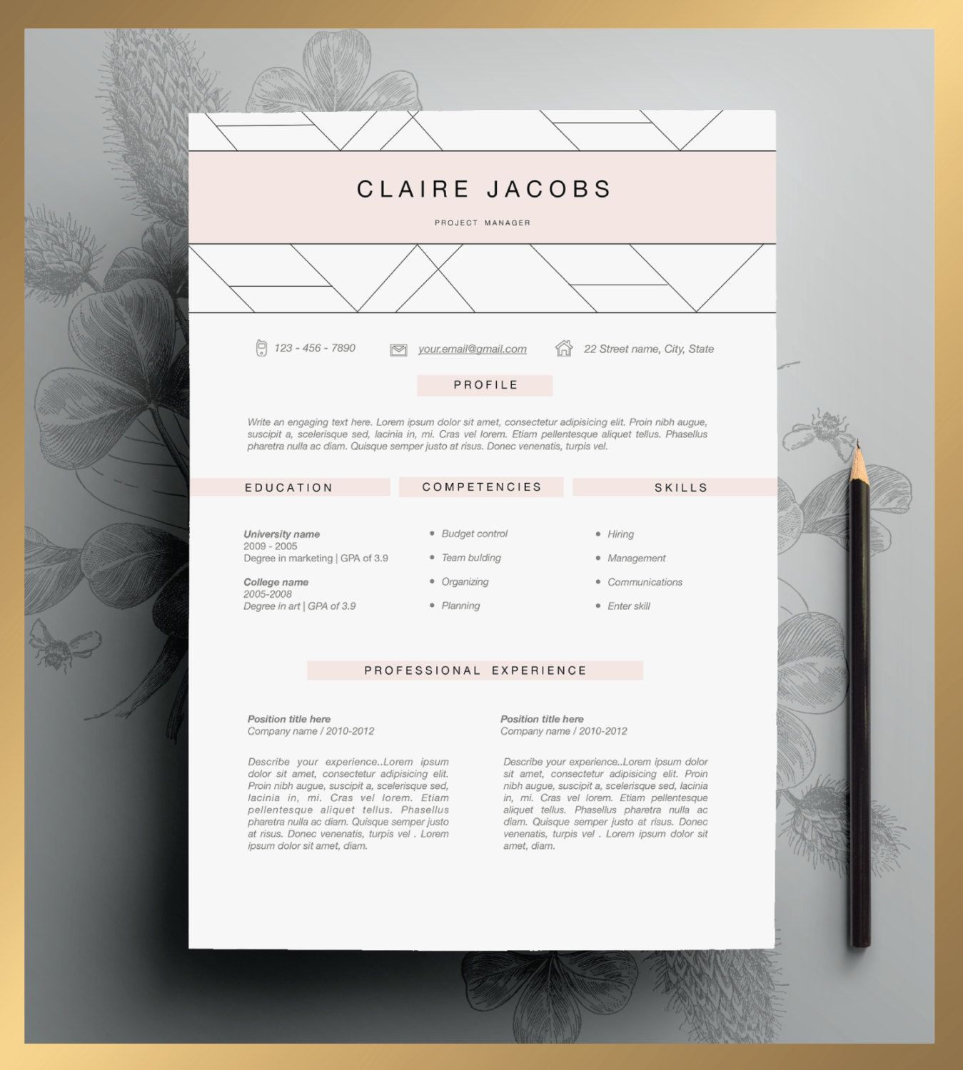 creative resume template editable in ms word and pages by