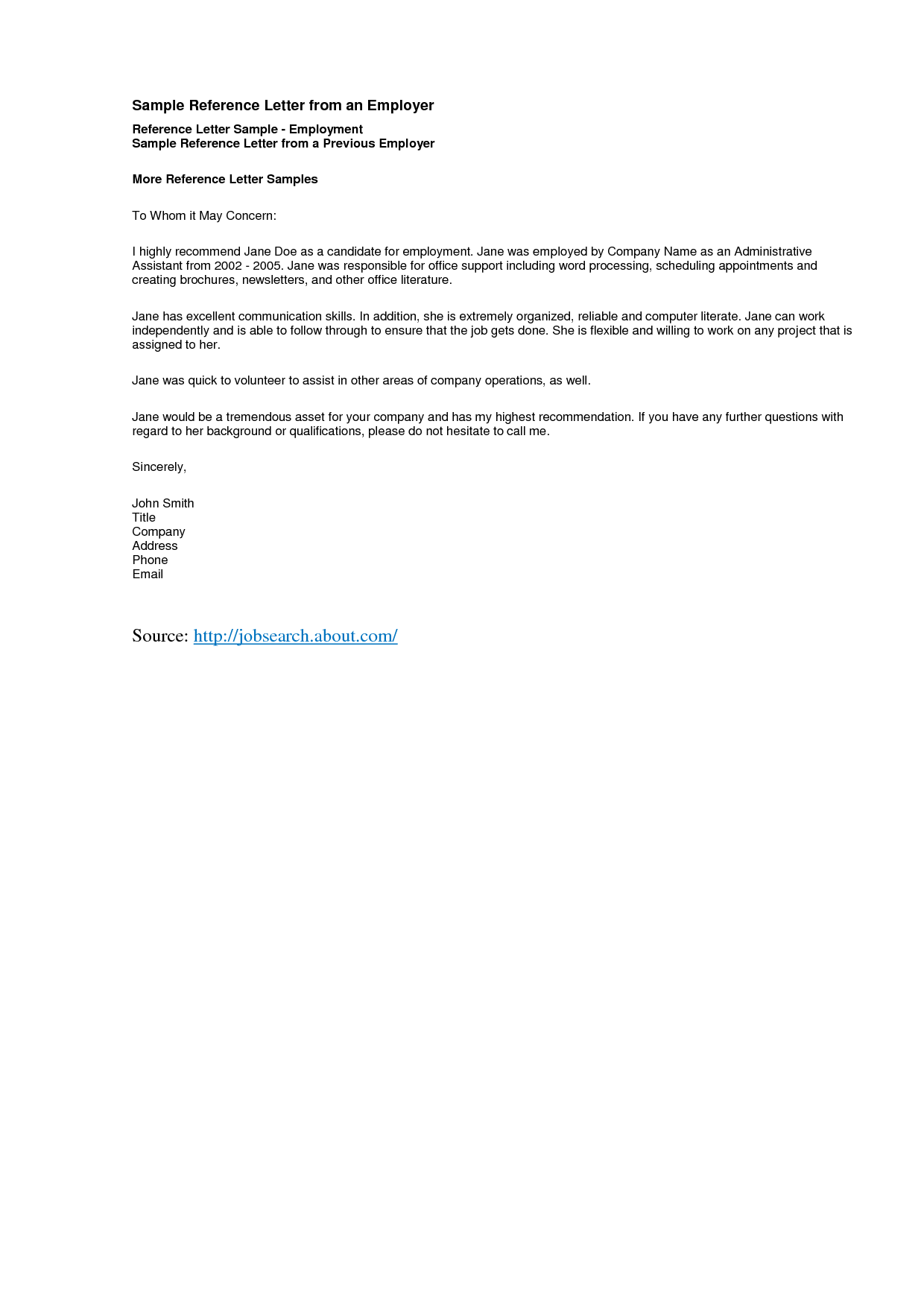 sample of reference letter for job – Employment Letter of Recommendation Template