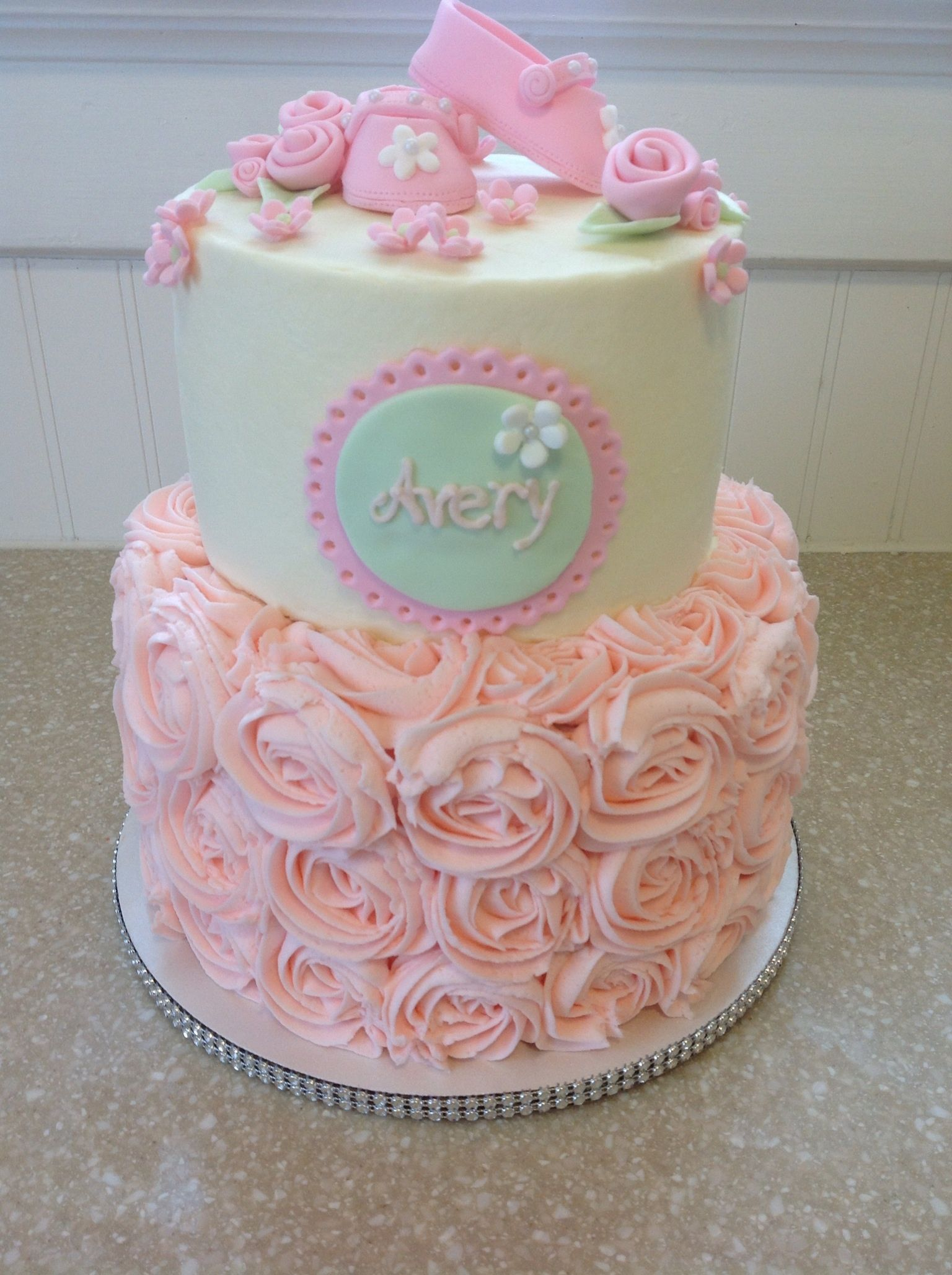 Raspberry Rose Baby Shower Cake  Butterfly Baby Shower -4124
