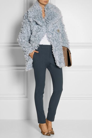 Pastel-blue shearling Button fastenings through double-breasted ...