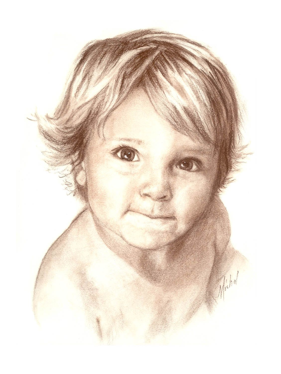Commissioned by a client drawn from a photograph conte pencil on