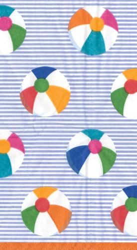 Caspari Bounce blue Beach Ball Theme Printed 3-Ply Paper Guest Towels Wholesale 12530G