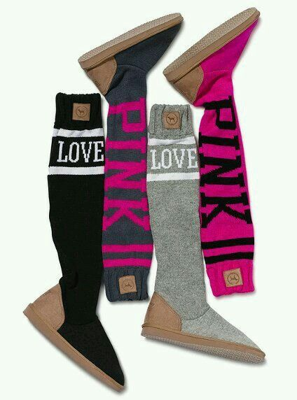 Vs Pink Long Sock Boots Victorias Secret Boots Pink Shoes