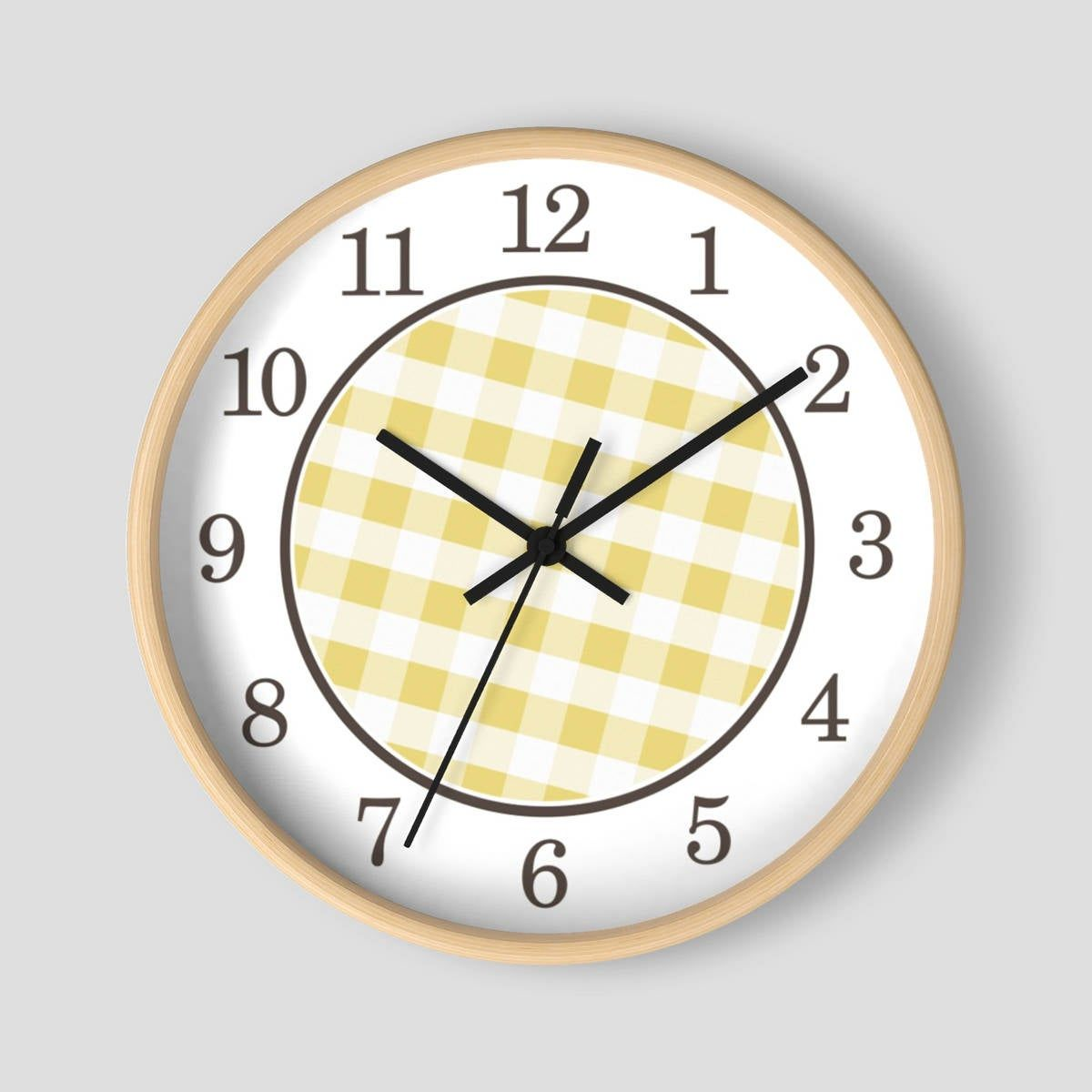 Yellow Gingham Wall Clock Pattern In Yellow And White With Wood Frame 10 Inch Round Clock Made To Order Clock Wall Clock Wall Clock Design