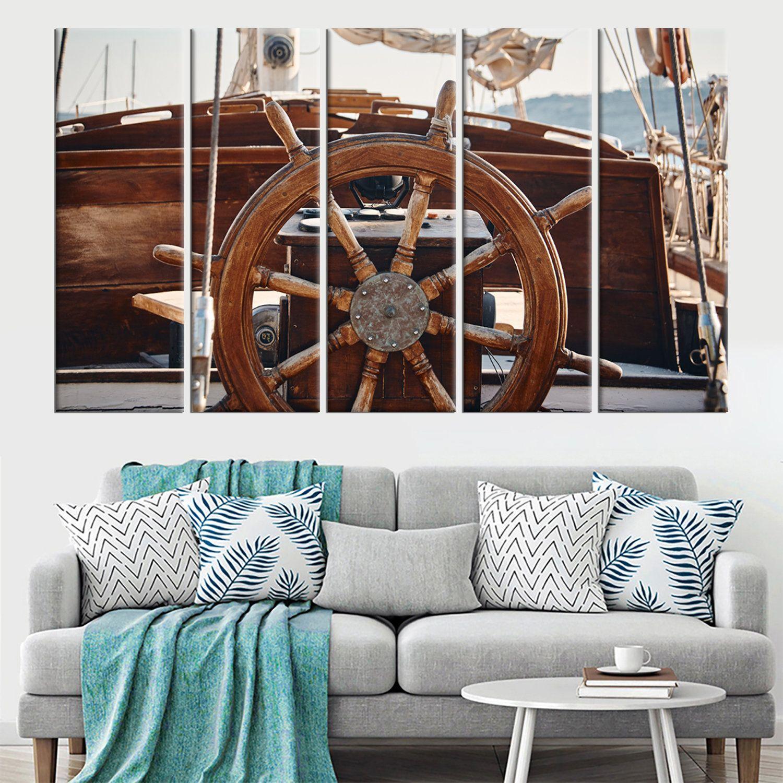 Vintage Ship Wheel Large Wall Art Wooden Sailboat Wall Art Decor