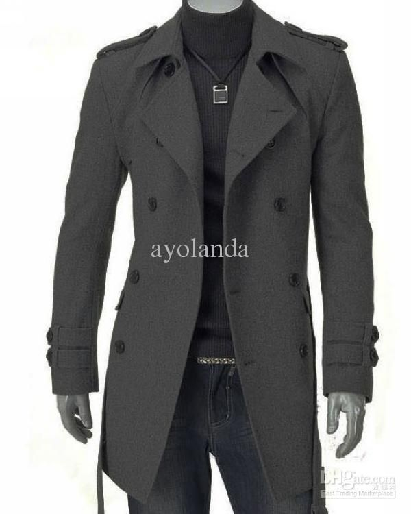 7809bbd4f pea coat lapel mans coat with epaulet thicken man s trench coats ...