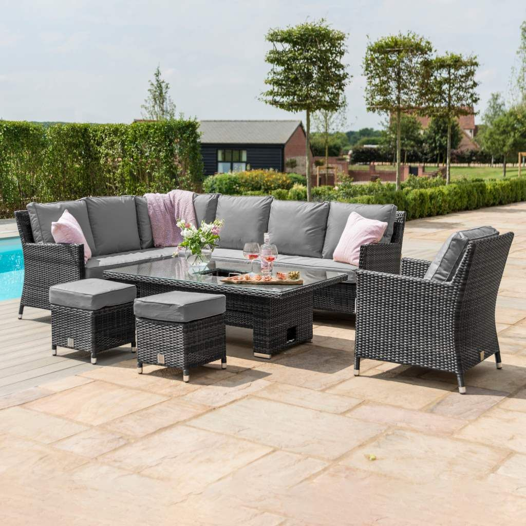 Maze Rattan Garden Furniture Venice Grey Corner Set With Rising Ice Bucket Table Armchair In 2020 Rattan Garden Furniture Corner Sofa Chair Garden Furniture