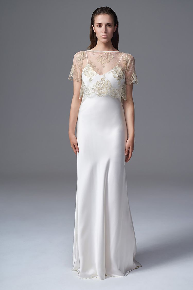 THE BERRY GOLD FRENCH CHANTILLY LACE TEE PAIRED WITH THE CLASSIC IRIS IVORY SLIP BRIDAL WEDDING DRESS BY HALFPENNY LONDON