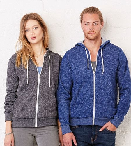 Bella Canvas Unisex Poly Cotton Fleece Full Zip Hoodie from NYFifth