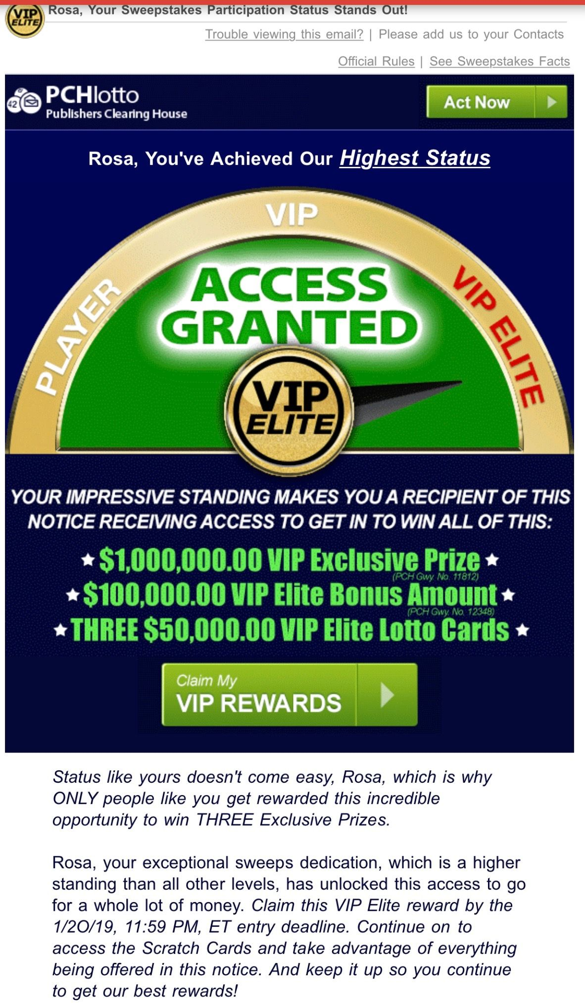 PCH VIP ELITE ACCESS GRANTED-I Rosa Rojas now officially Claim my