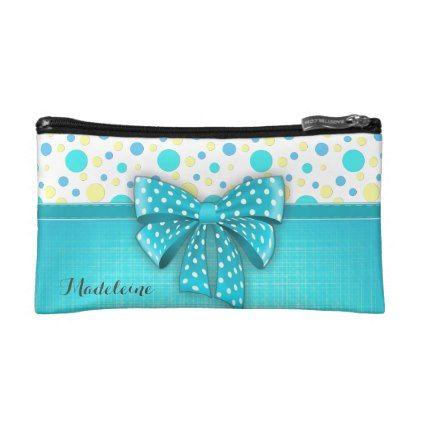 #elegant - #Blue and Yellow Polka Dots Turquoise Blue Ribbon Makeup Bag