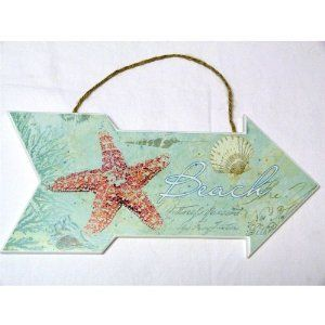 """Beach Sign with Starfish and Shells - Beach House or Cottage Decor - Ocean - 13"""" X 6"""