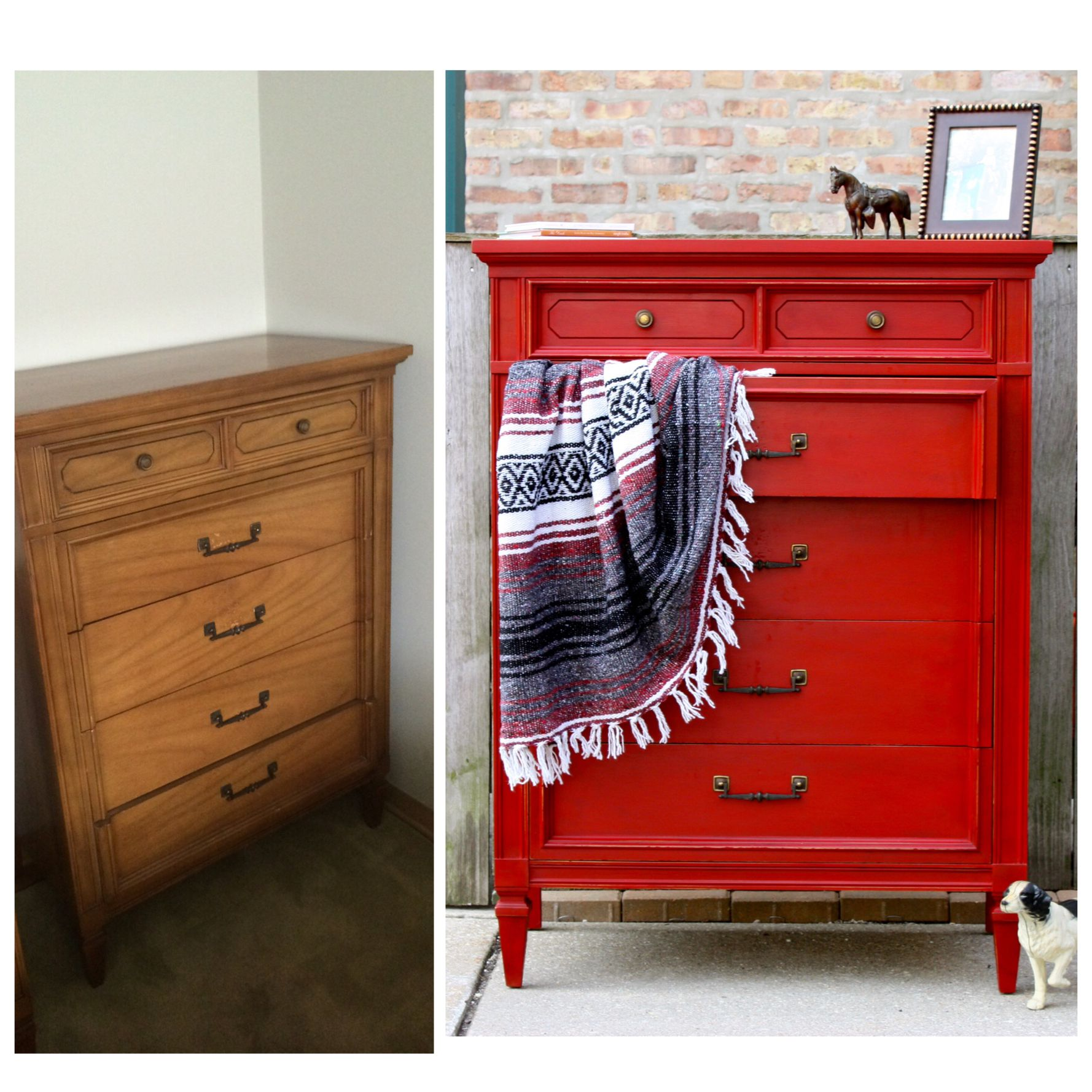 Rustic, Antique, Vintage, Shabby Chic, Distressed, Farmhouse, Red Tallboy /