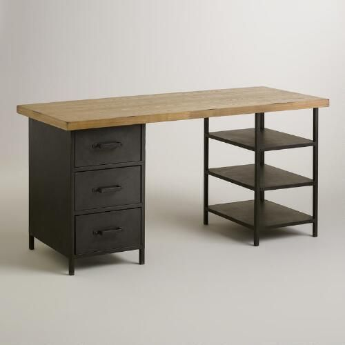 Wood Top Colton Mix & Match Desk With Shelf And Drawers