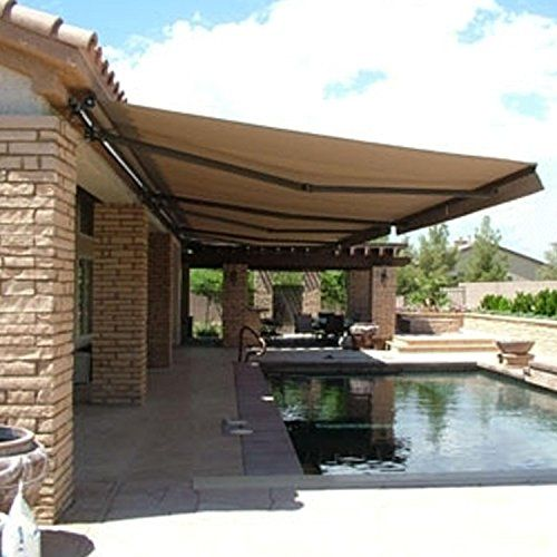 Retractable Awning 12x10 Ft Sand Color Aleko Http Www Amazon Com Dp B00kx1ls6g Ref Cm Sw R Pi Dp Duupub00mv444 Outdoor Awnings Patio Backyard Patio