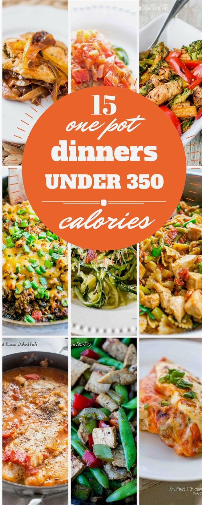 15 one pot dinners under 350 calories - rich, comforting, and easy meals that are family pleasers that won't derail your diet! #LowCalorieMeals #300caloriemeals