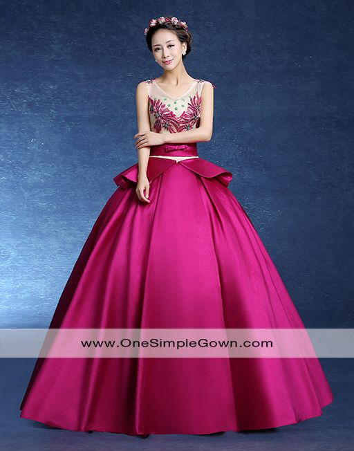 Magenta Green Color V Neck Satin Ball Gown Wedding Dress Ball Gown