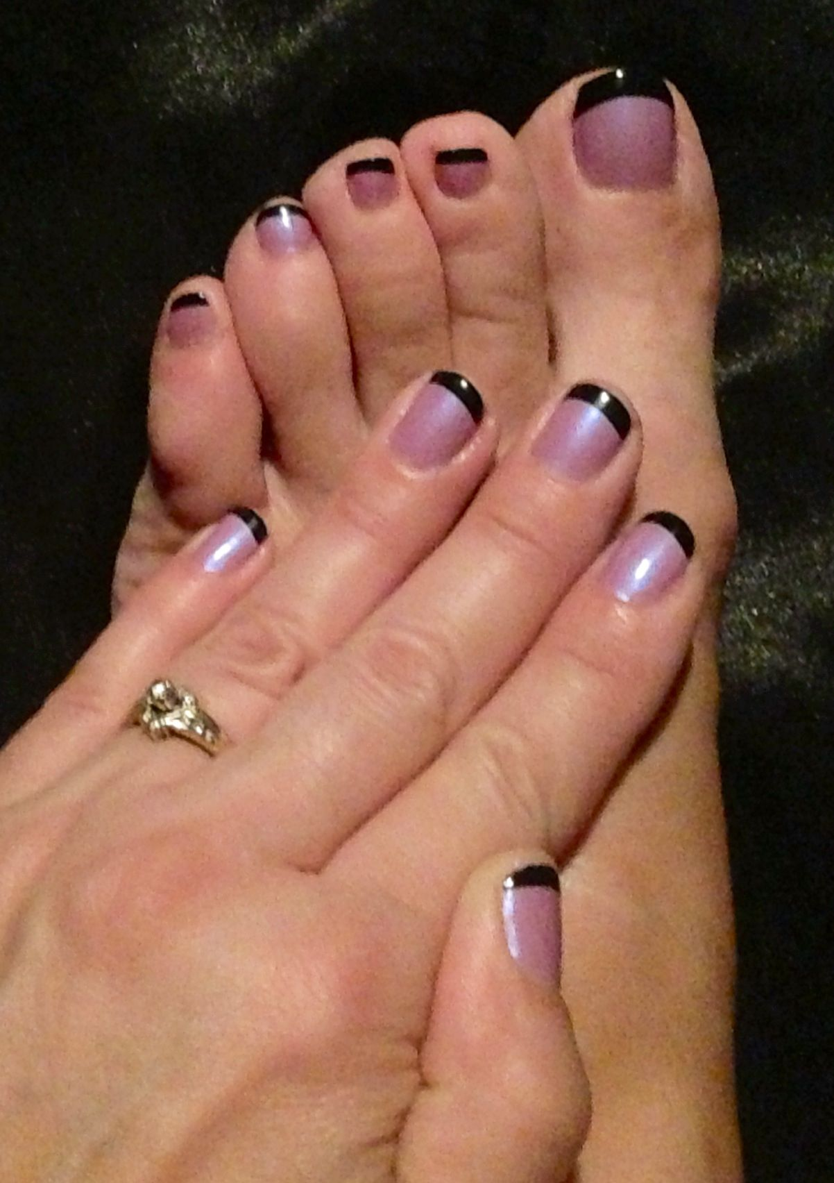My matching finger nails and toe nails. Mauve and black French ...