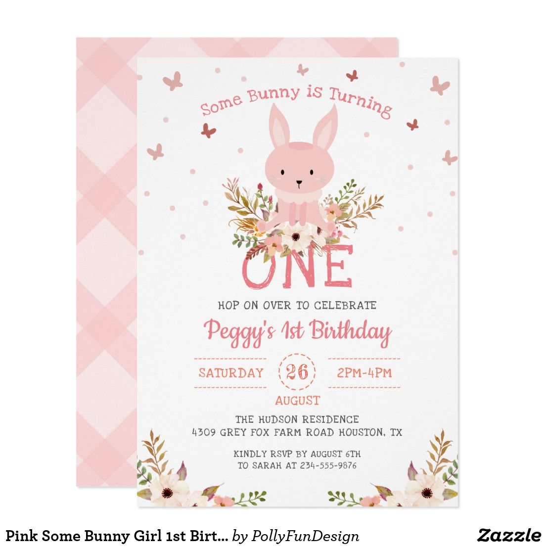 Pink Yellow Ladybirds Sweet Christening Party Personalised Invitations