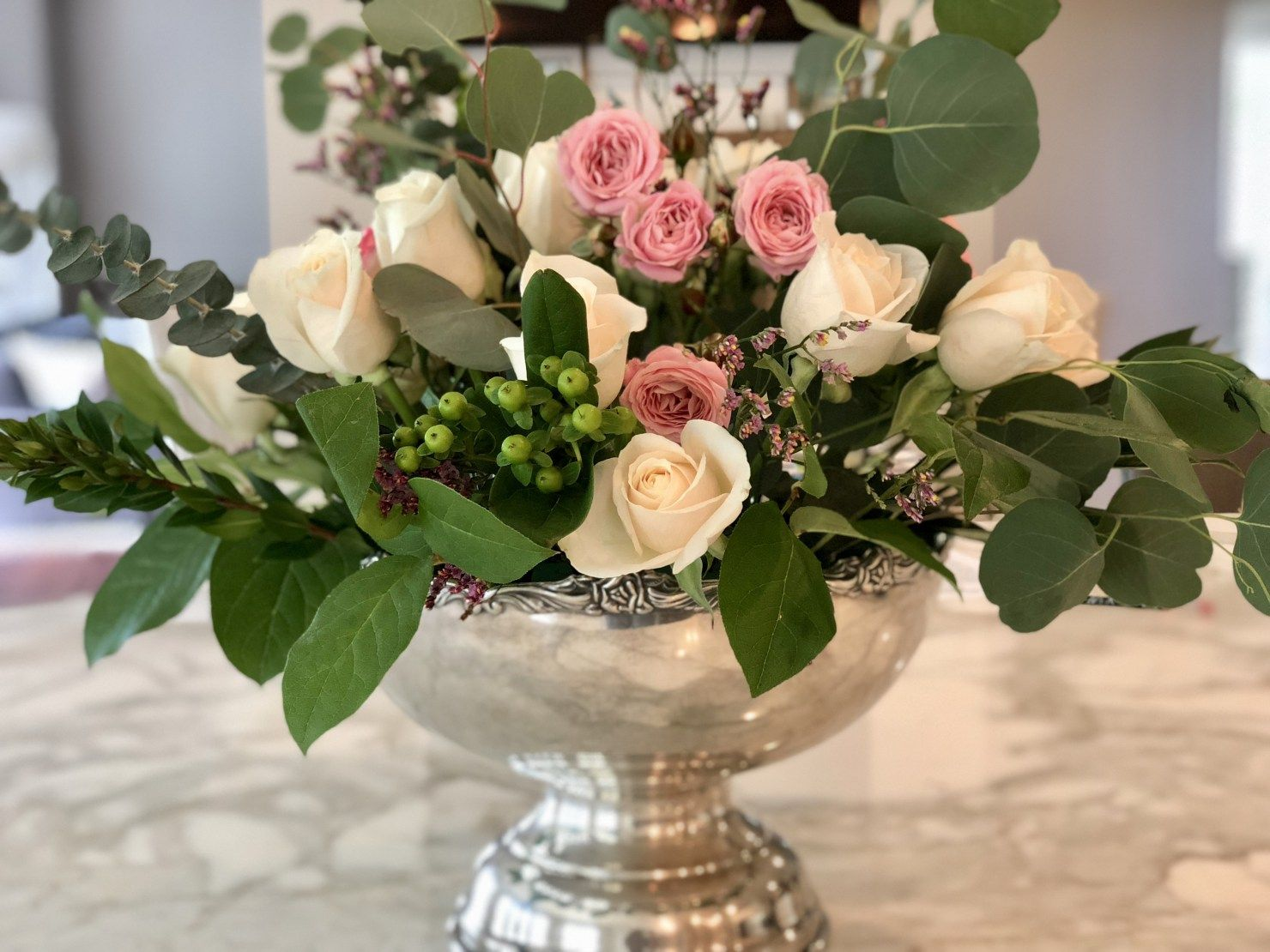 How To Make A Rose And Eucalyptus Floral Arrangement Step By Step