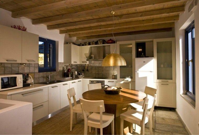 Color blanco y madera de roble para las cocinas modernas techos cocinas modernas cocinas y - Techos para cocinas ...