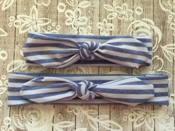 Mommy and Me Knotted Headwrap Set: Chambray/White Stripes