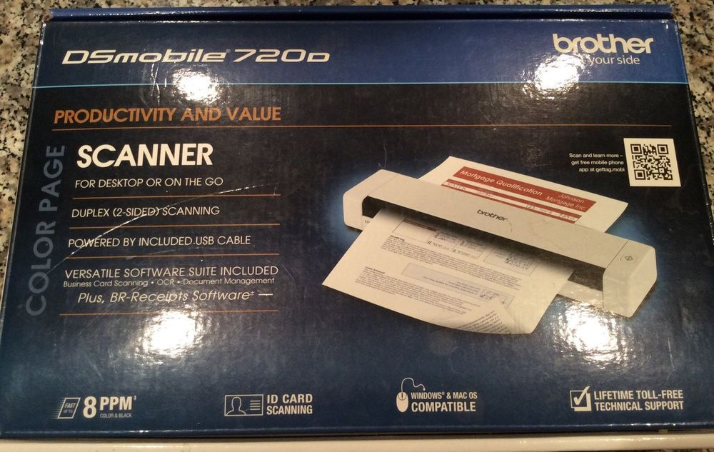 Brother Ds 720d Mobile Duplex Usb Color Page Sheetfed Scanner Bag Cable Box Brother Cable Box Usb Scanner
