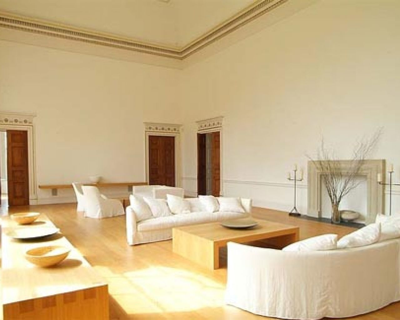 Modern Style Living Room with White Wall Paint Color and Wooden ...