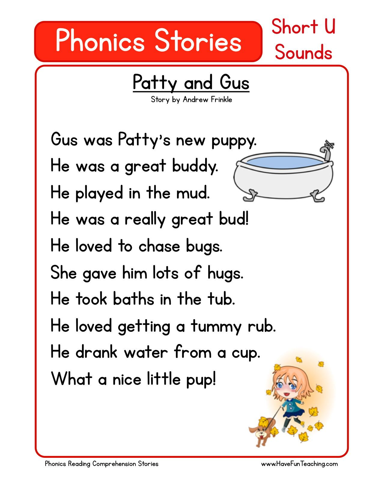 Reading Comprehension Worksheet - Patty and Gus   Phonics reading passages [ 1650 x 1275 Pixel ]