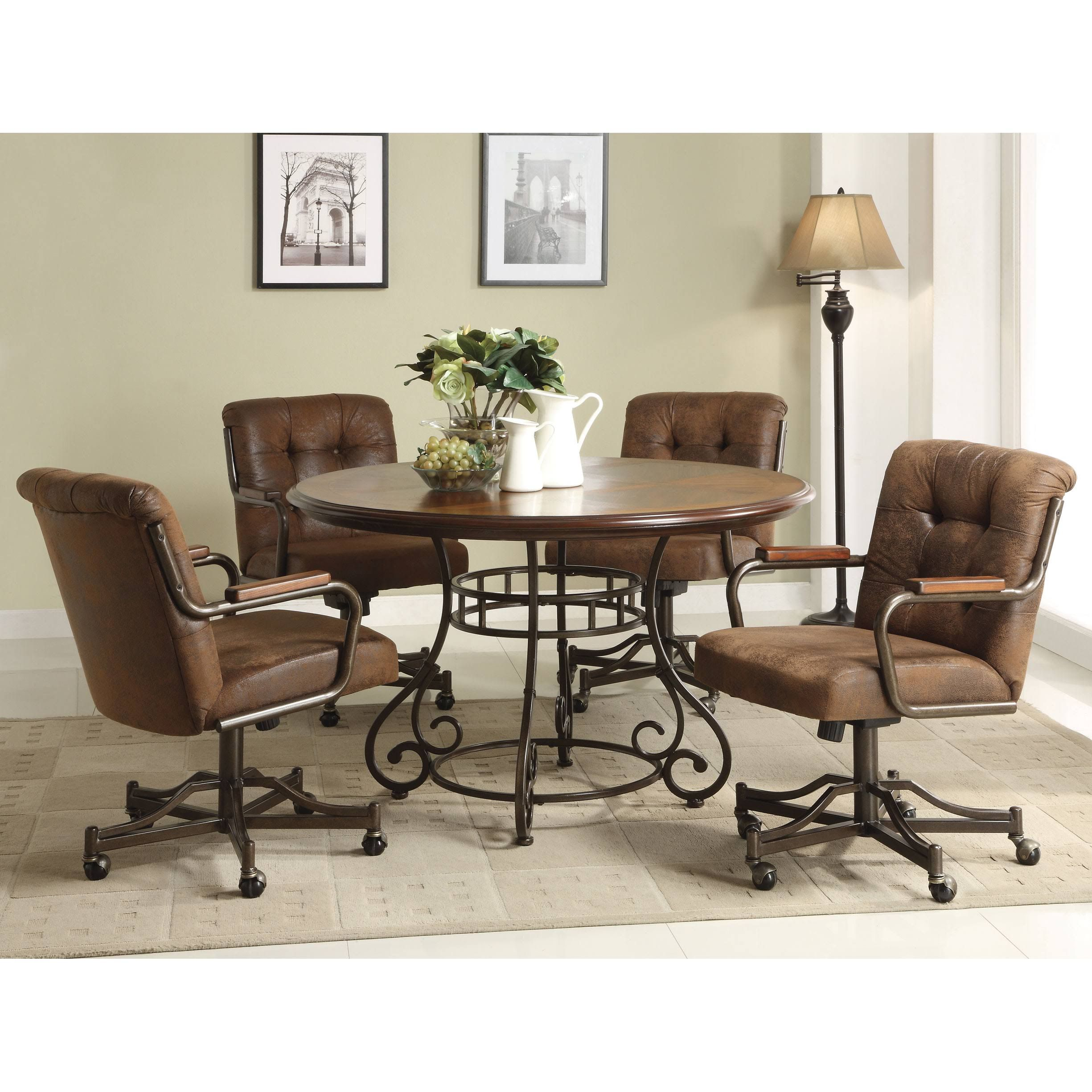 Anthony California 5 Pcs Wood Dining Table And Caster Chairs Set