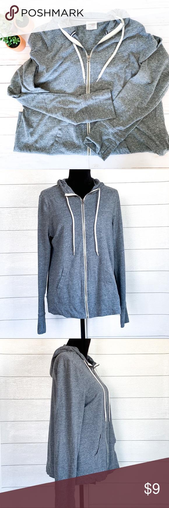 44a095d0b637b Danskin Now women s lightweight full zip hoodie Heathered grey light weight  cotton full zipper hoodie. Soft vintage heathered cotton jacket.
