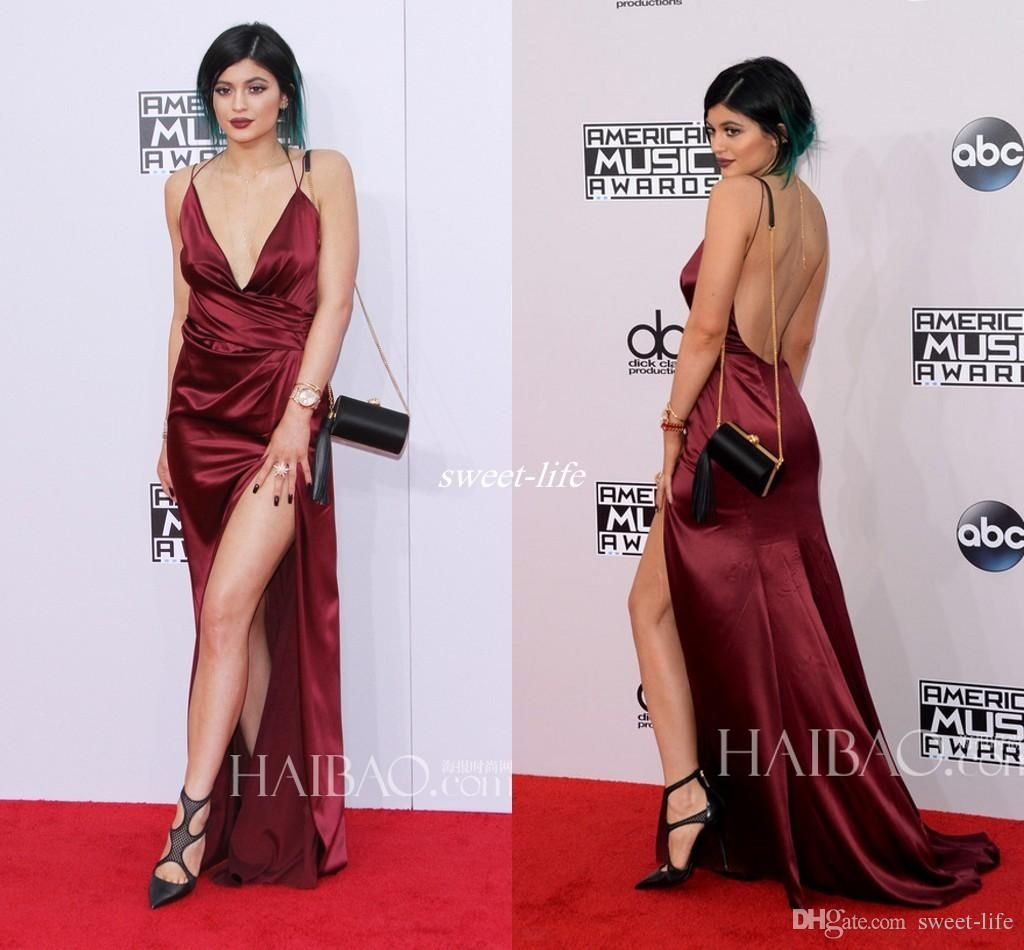 Sexy kylie jenner american music awards red carpet celebrity dresses