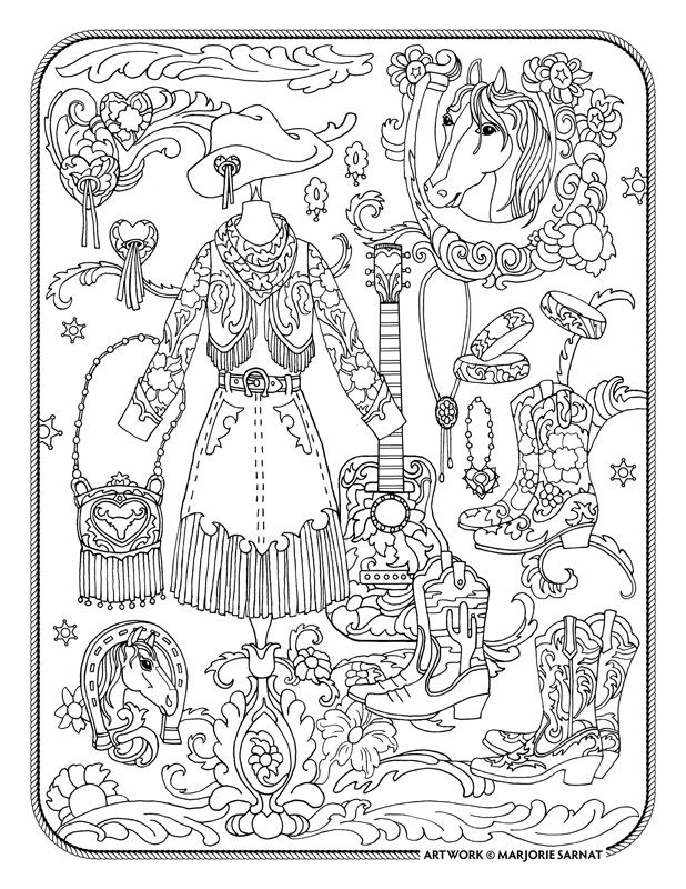 "Marjorie Sarnat's Fanciful Fashions Coloring for Everyone, ""Cowgirl Couture"""