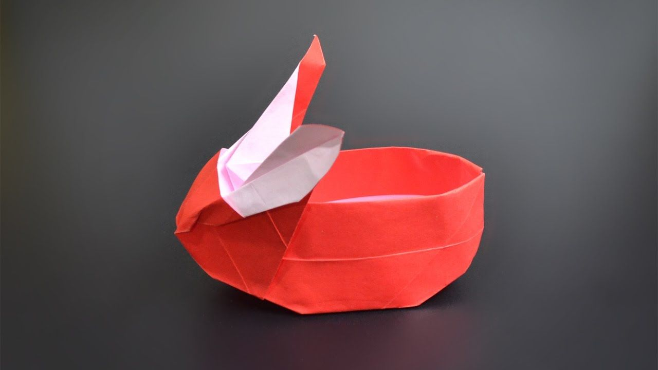 Origami Bunny Basket Instructions In English Br Easter 2019 In 2020 Easter Basket Crafts Easter Basket Diy Homemade Easter Baskets